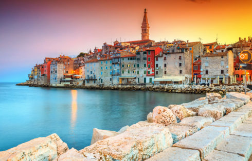 Stunning romantic old town of Rovinj with colorful buildings and magical sunset Istrian peninsula Croatia Europe