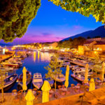 Town of Bol on Brac island harbor at sunset view Dalmatia region of Croatia